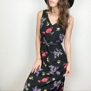 Vintage floral black tank maxi dress tie waist